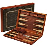 Piano Lacquer Backgammon Game Set with Wood Inlay, 13 Inches