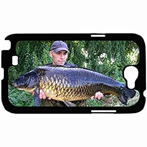 Customized Back Cover Case For Samsung Galaxy Note 2 Hardshell Case, Black Back Cover Design Carp Personalized Unique Case For Samsung Note 2