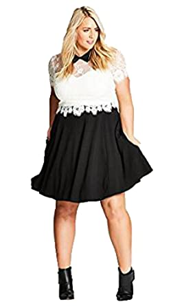 e094ddce5f39c City Chic Innocent Layer Contrast Lace Fit   Flare Black Dress ...