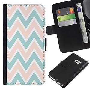 EJOY---La carpeta del tirón la caja de cuero de alta calidad de la PU Caso protector / Samsung Galaxy S6 EDGE / --Modelo rosado del melocotón Verde Blanco