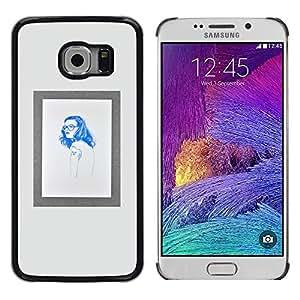Marco Mujer Hipster Hippie azul impresiones- Metal de aluminio y de plástico duro Caja del teléfono - Negro - Samsung Galaxy S6 EDGE (NOT S6)