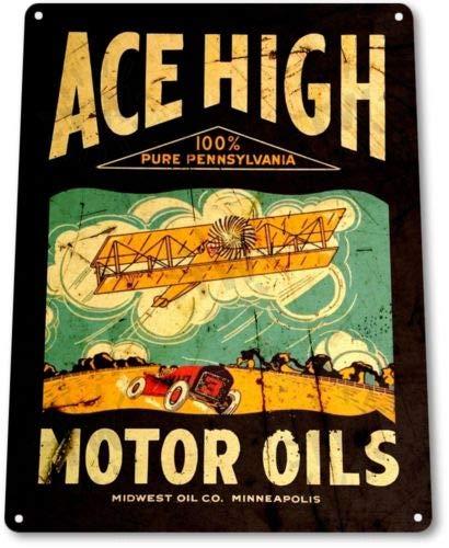 TIN Sign Ace High Motor Oils Tin Metal Sign Gas Oil Station Pump -