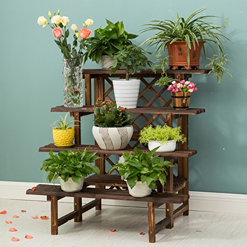 Antiseptic solid wood multi-storey ladder flower floor living room multi-meat green radish plant flower pot-B by XUEFEIFAN
