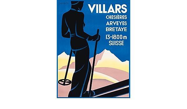Swiss Art Deco Print BRETAYE Vintage Ski Posters VILLARS CHESIERES ARVEYES