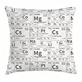 Ambesonne Periodic Table Throw Pillow Cushion Cover, School Life Smart Kids Inspired Chemisty with Elements in Squares Print, Decorative Square Accent Pillow Case, 20 X 20 Inches, Army Green