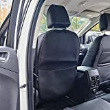 UR Urlifehall Black with Red Line Kick Mat with Organizer- PU Leather Premium Backseat Protector Seat Covers - Universal Fit Automotive Interior Protectors