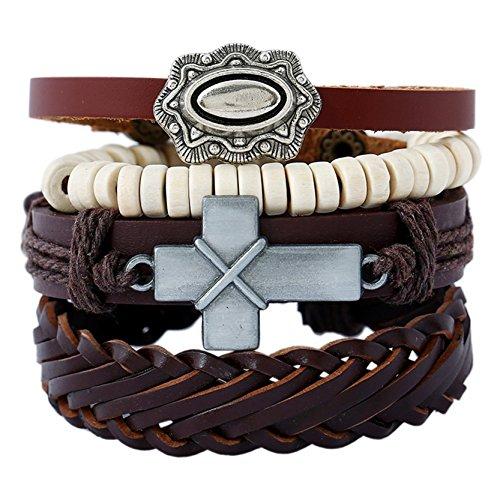 Leather Bracelet for Men Wrist Band Brown Rope Bracelet Bangle DALARAN Cross for $<!--$8.99-->
