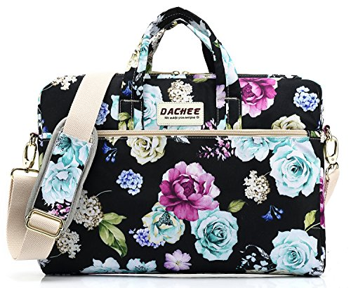 (DACHEE Colored Flowers Pattern 15 inch Waterproof Laptop Shoulder Messenger Bag for 14 Inch to15.6 inch Laptop and MacBook Pro 15 Laptop Case)
