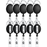 ljdeals Retractable Badge Holder Carabiner Reel Clip On ID Card Holders Pack of 10