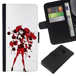 iBinBang / Flip Funda de Cuero Case Cover - Sexy Bunny Girl Blanco Rojo Sangre - HTC One M7
