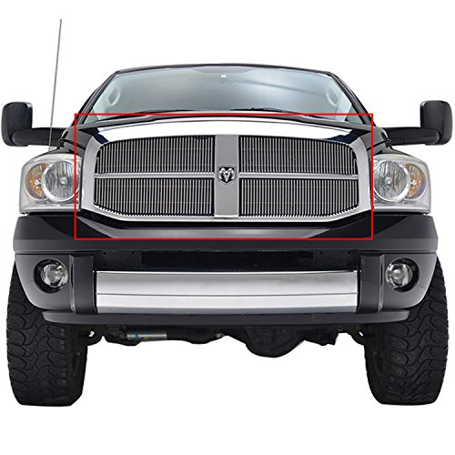 E-Autogrilles Chrome Billet Grille Grill Vertical Overlay Aluminum Polished 4mm Insert for 06-08 Dodge Ram 1500 / 06-09 Dodge Ram 2500/3500 (4PCS)