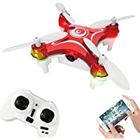 Remote-controlled Rechargeable Mini Quadcopter Rotatable Motor Drone Aircraft with WIFI FPV HD Camera 4 Channels 6 Axis Gyro 2.4 Ghz?Red)