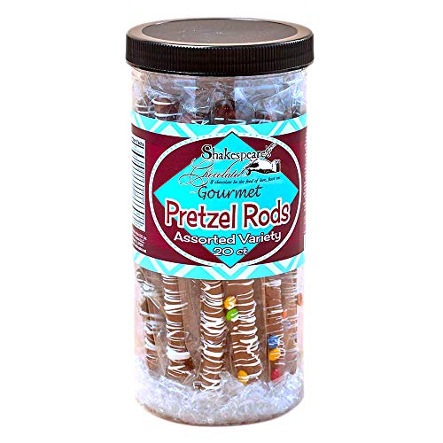 Chocolate Covered Pretzels Tub - Family-Size Assorted Gourmet Pretzel Rods | Chocolate Candy Rods Snacks, Double Chocolate Overload with Mini Chocolate Chips, White Fudge, Milk Chocolate | 20 Count