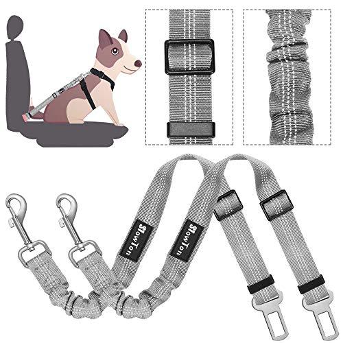 Slowton Cinturón de seguridad para perros, cinturones para mascotas coche cinturón ajustable con doble uso elástico bungee...