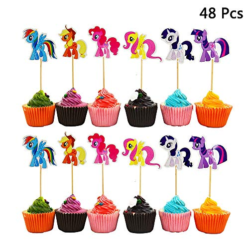 Finduat 48 Pack My Little Pony Cupcake Toppers Kids Birthday Party Supplies -