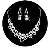 Belle House Sliver Necklace Earrings Beaded Pearls Jewelry Sets for Wedding Bridal Party