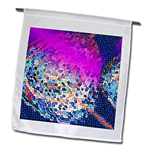 Jos Fauxtographee Designs - A pink and blue piece of art with a stained glass look - 12 x 18 inch Garden Flag (fl_99625_1)