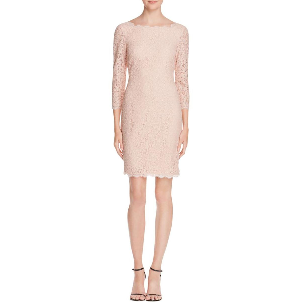 Adrianna Papell Womens Petites Lace 3/4 Sleeve Cocktail Dress Pink 4P