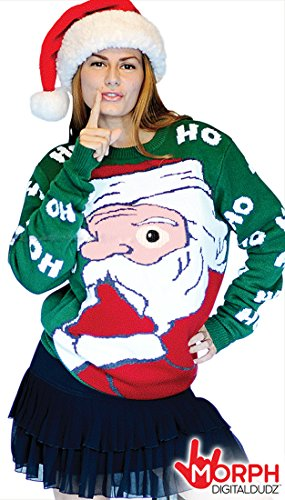 Digital Dudz Peeking Santa Ugly Christmas Sweater, Green, Large ()