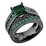 Junxin Jewelry Women Wedding Black Rings Set Cubic Emerald Main Stone Size5