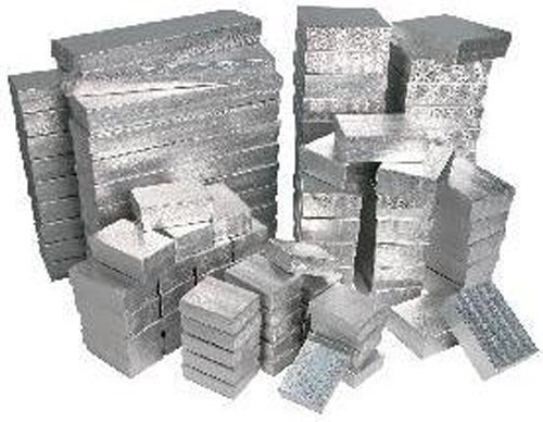 - 100 Pieces Assorted Sizes Silver Cotton Filled Jewelry Gift Boxes Foil Box Store