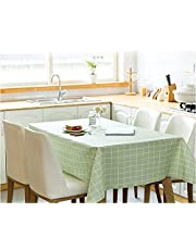 Bordsduk torkbar bordsduk rektangulär PVC plast torka ren vattentät bordsskydd skydd för kök picknick inomhus utomhusfest barnfest (grön rutig, 140 x 180 cm)