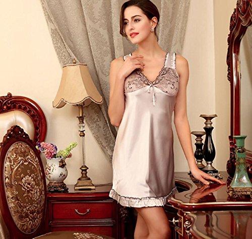 LJ&L La Sra verano de la ropa interior del V-cuello faldas que cuelgan ropa de dormir pijamas de seda femeninos de la falda / baño,gray,M Gray