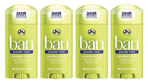 Ban Antiperspirant Deodorant, Invisible Solid, Powder Fresh, 2.6-Ounce Bottles (Pack of 4) by Ban