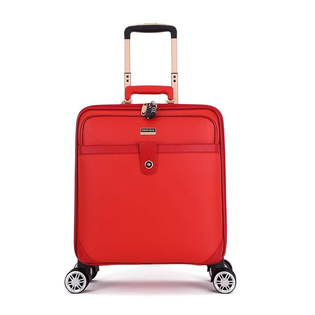 荷物16インチ、8輪付きローリングスーツケース、ラゲッジロック付きの軽量荷物、ラゲッジタグ、飛行機で運ぶことができるスーツケース  レッド B07MNS53BS
