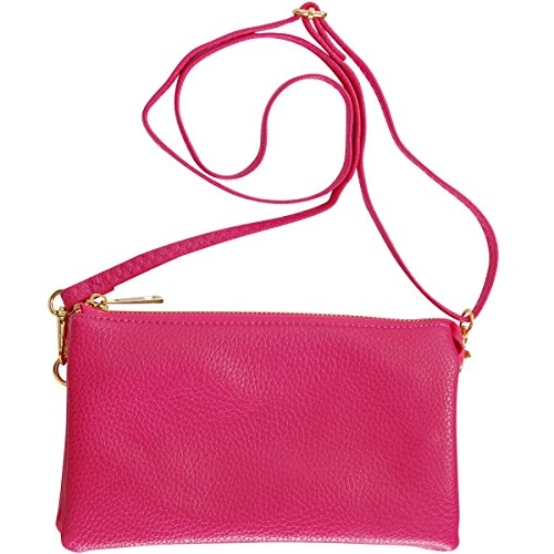 Leather Crossbody Wrist Wristlet or Purse Shoulder Humble Includes Fuchsia Adjustable Vegan Small Straps and Chic Clutch Bag x4wUFIq