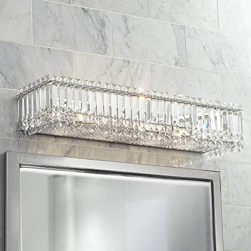 (Modern Wall Light Cut Crystal Columns Chrome 30