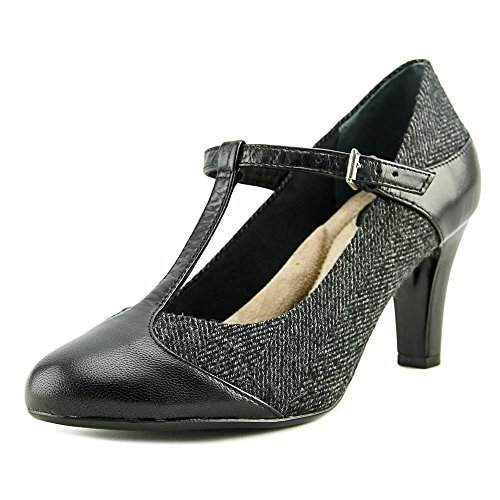 Giani Bernini Vrouwen Vineza Lederen Cap Teen T-strap Mary Jane Pumps Zwart / Grijs Mix
