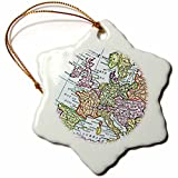 3dRose LLC orn_112938_1 Porcelain Snowflake Ornament, 3-Inch, ''Vintage European Map of Western Europe-Britain UK France Spain Italy Etc-Retro''
