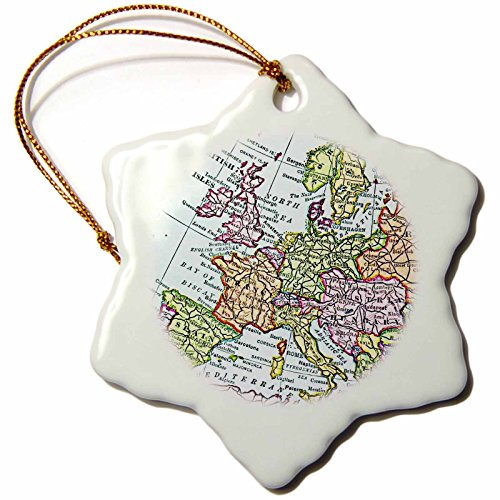 3dRose LLC orn_112938_1 Porcelain Snowflake Ornament, 3-Inch, ''Vintage European Map of Western Europe-Britain UK France Spain Italy Etc-Retro'' by 3dRose