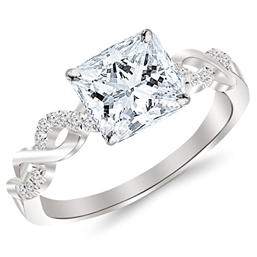 2.13 Carat Twisting Infinity Gold and Diamond Split Shank Pave Set Diamond Engagement Ring with a 2 Carat Moissanite Center