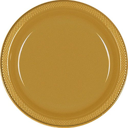 Amscan 43030.19 Disposable Party Round Dessert Plates, Gold,; 7