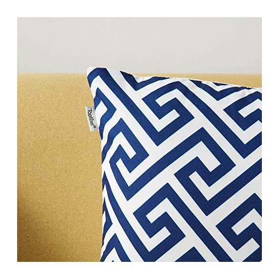 Top Finel Accent Decorative Throw Pillow Covers Durable Canvas Outdoor Throw Pillow Covers 20 X 20 for Couch Bedroom, Set of 6, Navy - SUPER PLUSH MATERIAL & SIZE: Made of durable canvas, comfortable to touch and lay on. 20 X 20 Inch per pack, included 6 packs per set, NO PILLOW INSERTS. WORKMANSHIP: Delicate hidden zipper closure was designed to meet an elegant look. Tight zigzag over-lock stitches to avoid fraying and ripping. NO PECULIAR SMELL: Because of using environmental and high quality canvas fabric,our throw pillow cases are the perfect choice for those suffering from asthma, allergen, and other respiratory issues. - patio, outdoor-throw-pillows, outdoor-decor - 510ulF7jitL. SS570  -