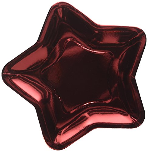Star Shaped 9.6 Inch Foil Paper Party Plates, Set of 24 (Red) -