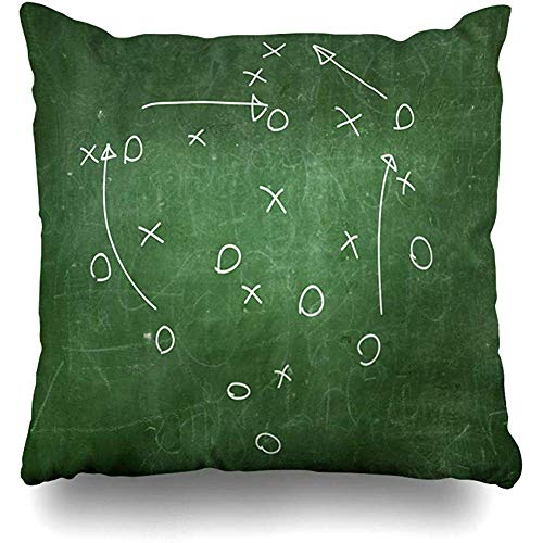 (Throw Pillow Cover Cushion Case Square 18x18 Inch Board Football Soccer Strategy Drawn Playbook Play Chalkboard Room Locker Goal Home Decor)