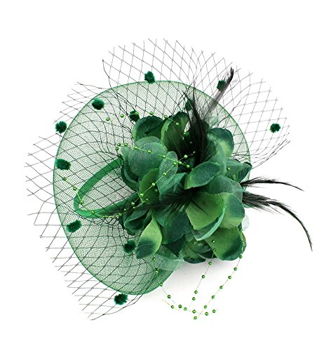 (Women Feather Flower Barrette Fascinator Hat with a Hair Hoop Headband Cocktail Party (# Dark Green))