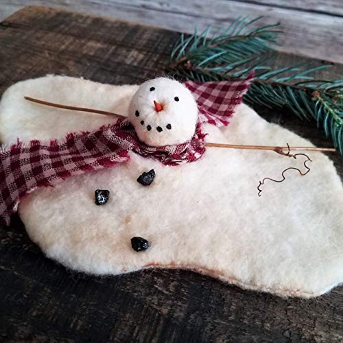 Primitive Folk Art Winter Holiday Christmas Melted Snowman 6 Inch Wide Ornament Shelf Sitter Decor -
