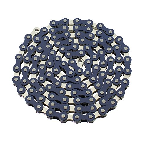 (YBN S410 Bicycle Chain (1-Speed, 1/2 x 1/8-Inch, 112L) Two Tone, Various Colors(Blue/Chrome))