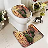 Muyindo 2 Piece Toilet mat set Ancient Strein Valldemossa Village Mallorca Spain Vintage Door Road Tourism Absorbent Cover
