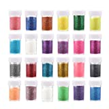 Ktdorns Stationery Fine Iridescent Sparkle Flake Glitter Craft Dust Powder Pigment for DIY Crafts Scrapbooking Project Nail Art Color Kit (24 Colors)
