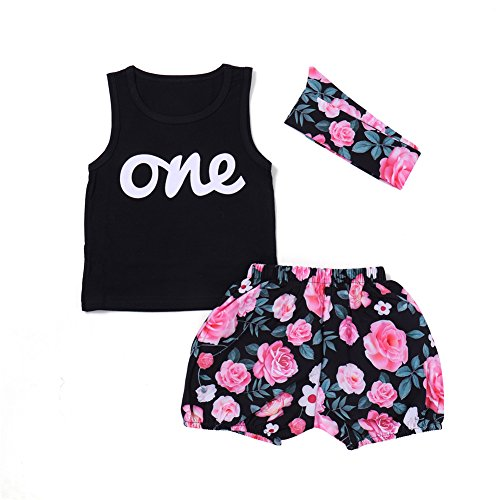 PROBABY Baby Girl Clothes Set Wild One Sleeveless Vest Tops Floral Shorts with Headband 3PCS Summer Outfit
