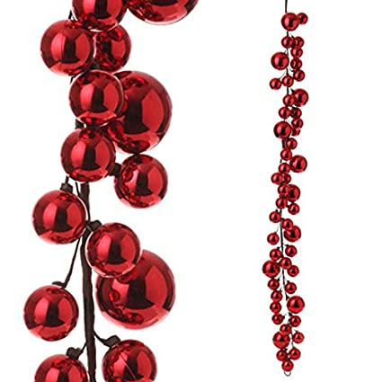 raz imports 4 red christmas ball garland