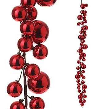 Amazon.com: RAZ Imports - 4' Red Christmas Ball Garland: Home ...