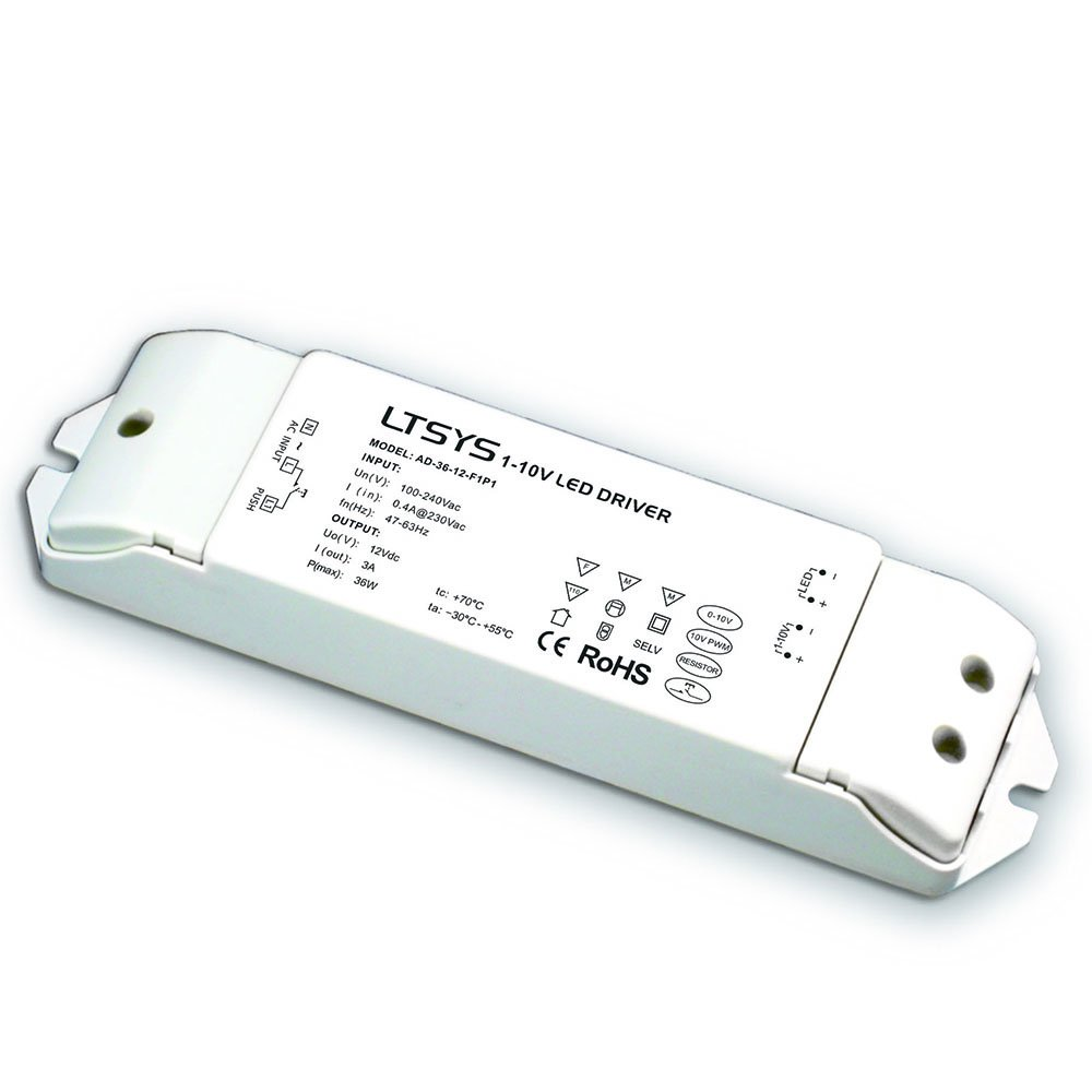 0-10V Intelligent Dimmable LED Driver Anolog Dimming Signal to Constant Voltage 36W PWM Controller 5 in 1 Dimming 1-10V / PWM / RX CC Push Dim (12V DC 36W)