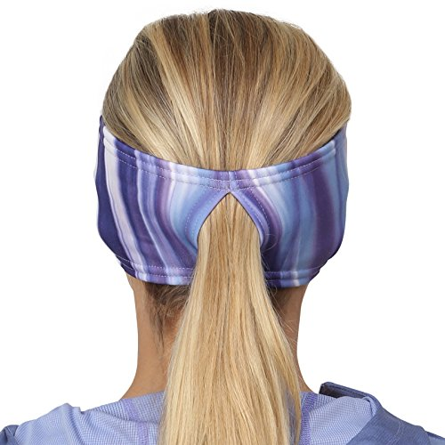 TrailHeads Women's Print Ponytail Headband – 12 prints  - Made in USA - purple waves by TrailHeads (Image #6)
