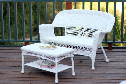 Jeco W00206-LCS Wicker Patio Love Seat and Coffee Table Set without Cushion, White (Set Wicker Loveseat White)